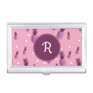 Summer tropical pink pineapple triangles pattern business card holder