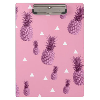 Summer tropical pink pineapple triangles pattern clipboard