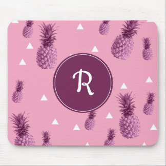 Summer tropical pink pineapple triangles pattern mouse pad