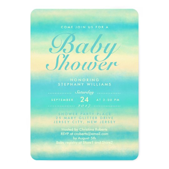 Summer Turquoise Beach Neutral Baby Shower Invite