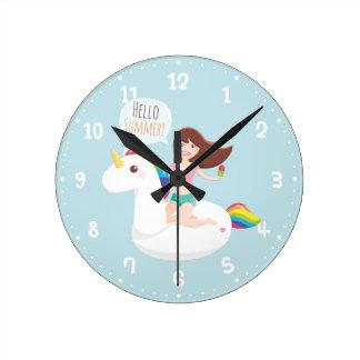 Summer Unicorn Pool Float Wall Room Decor Clock