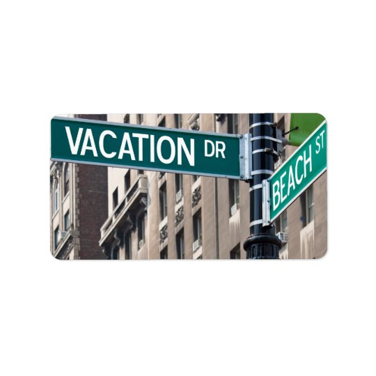 Summer Vacation Beach Street Signs Label