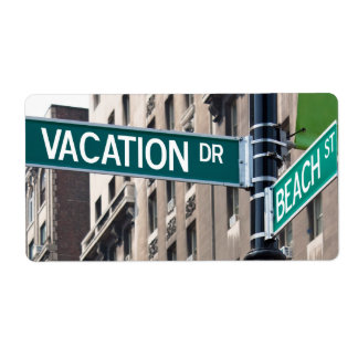 Summer Vacation Beach Street Signs Shipping Label