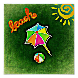 Summer Vacation Beach Umbrella and Ball Poster
