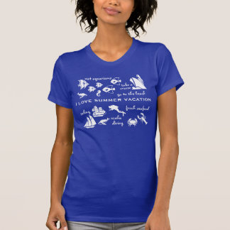 Summer vacation fun white and blue t shirt
