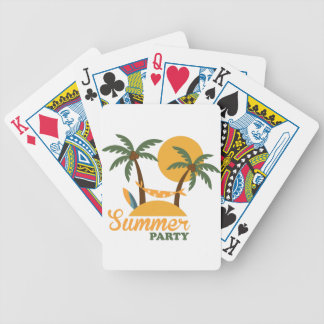 Summer vacation holiday tropical island with palm bicycle playing cards