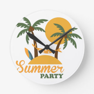 Summer vacation holiday tropical island with palm round clock