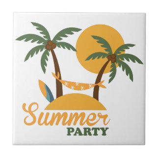 Summer vacation holiday tropical island with palm tile