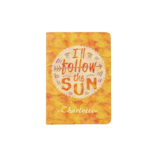 Summer Vacation Personalized Follow Sun Sunshine Passport Holder