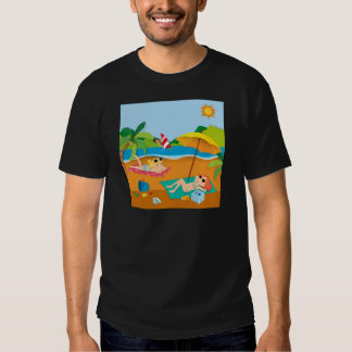 Summer vacation with people on the beach t shirts