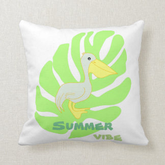 Summer vibe- pelican throw pillow