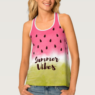summer vibes quote and fruity print tank top