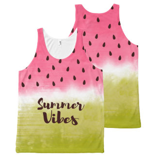 Summer vibes watercolor watermelon All-Over-Print tank top