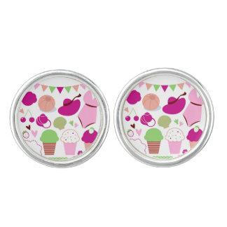 Summer vintage Jewelry : Pink Cufflinks