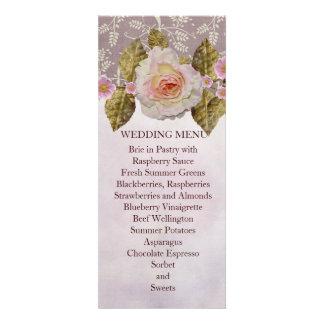 Summer Vintage Rose Damask Wedding Menu Personalized Invites