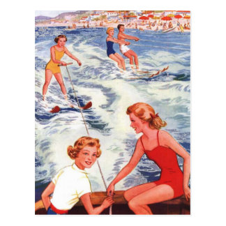 Summer Water Skiing Fun Postcard