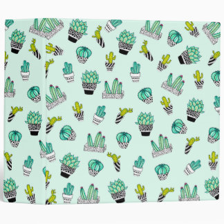 Summer Watercolor Cactus Black and White Pots Binder