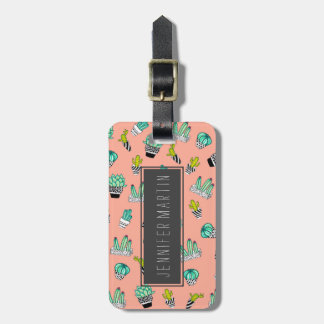 Summer Watercolor Cactus Modern Coral Pattern Luggage Tag