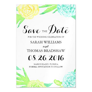 Summer Watercolor Floral Wreath Save the Date Magnetic Invitations