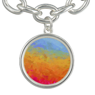 Summer watercolor rainbow colorful design bracelets