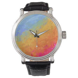 Summer watercolor rainbow colorful design watch