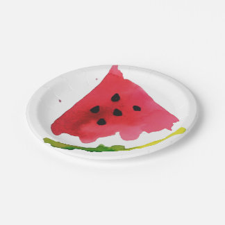 Summer Watercolor Watermelon 7 Inch Paper Plate