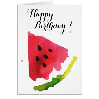 Summer Watercolor Watermelon Card