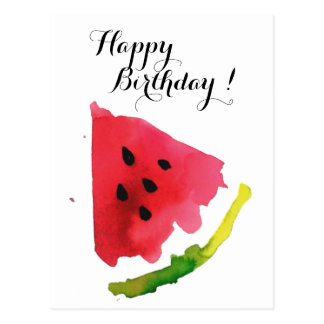 Summer Watercolor Watermelon Postcard