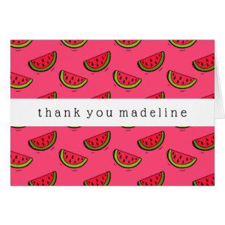 Summer Watermelon on Pink Pattern Card