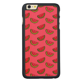 Summer Watermelon on Pink Pattern Carved Maple iPhone 6 Plus Case
