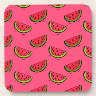 Summer Watermelon on Pink Pattern Coaster
