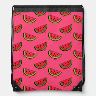Summer Watermelon on Pink Pattern Drawstring Bag