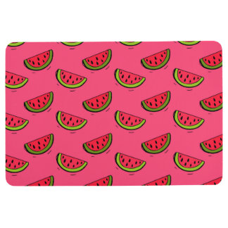 Summer Watermelon on Pink Pattern Floor Mat