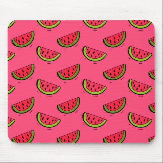 Summer Watermelon on Pink Pattern Mouse Pad