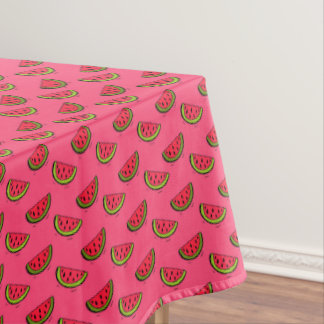 Summer Watermelon on Pink Pattern Tablecloth