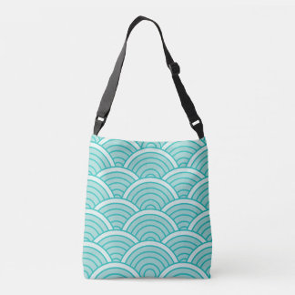 summer waves, illustration, decorative, modern crossbody bag