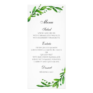 Summer wedding menu outdoor. Green dinner menu