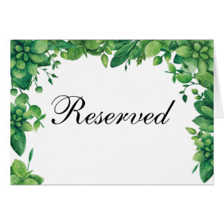 Summer wedding reserved sign. Woodland table card
