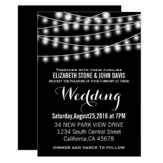 Summer Wedding String Lights Black Design Card
