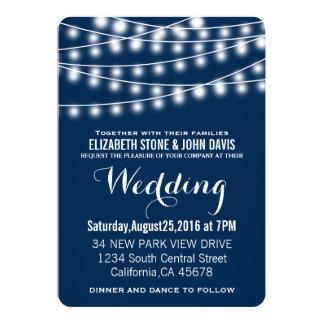 Summer Wedding String Lights Design Card