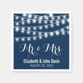 Summer Wedding String Lights Design Paper Napkins