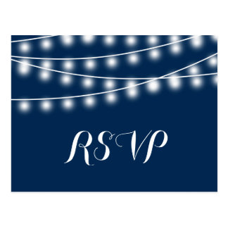Summer Wedding String Lights RSVP Postcard