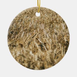 Summer Wheat Field Closeup Farm Photo Ceramic Ornament