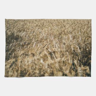 Summer Wheat Field Closeup Farm Photo Kitchen Towel