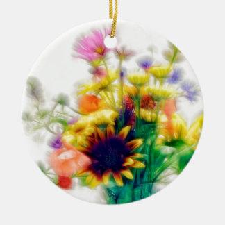 Summer Wildflower Bouquet Ceramic Ornament