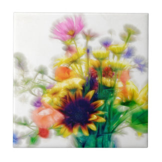 Summer Wildflower Bouquet Ceramic Tiles