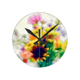 Summer Wildflower Bouquet Round Clock