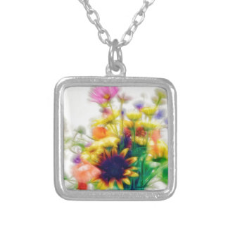 Summer Wildflower Bouquet Silver Plated Necklace