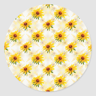 Summer Wildflower - Yellow Black-Eyed Susan Photo Classic Round Sticker