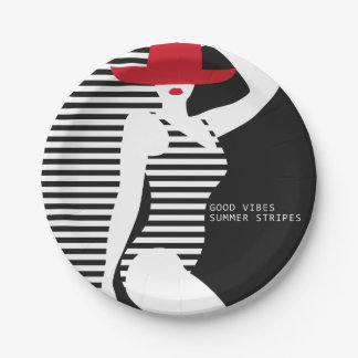 Summer Woman paper plates 7 Inch Paper Plate